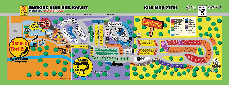 Watkins Glen/Corning KOA Resort Map on